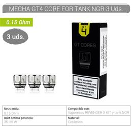 VAPORESSO MECHA GT4 CORE FOR TANK NRG 0.15 Ohm 3 Uds.[600168]