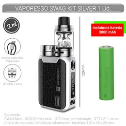 VAPORESSO SWAG KIT 2 ml SILVER 1 Ud. [232615]