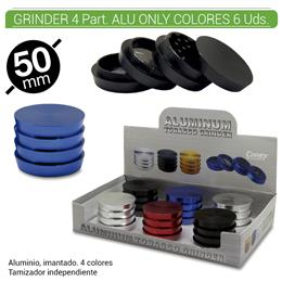 GRINDER 4 Part. CONEY ALUMINIO ONLY COLORES 50 mm. 6 Uds. 02.12438