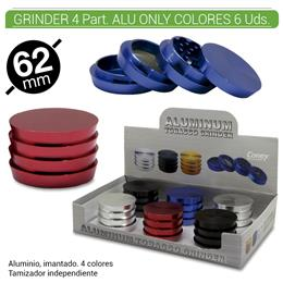 GRINDER 4 Part. CONEY ALUMINIO ONLY COLORES 62 mm.  6 Uds. 02.12439