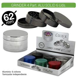 GRINDER 4 Part. CONEY METAL ALU SOLID 62 mm. 6 Uds. 02.12437