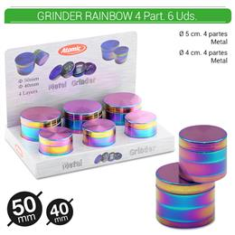 GRINDER 4 Part. RAINBOW ALU 40-50 mm 2 TAMAÑOS 6 Uds. 02.12460
