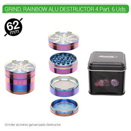 GRINDER 4 Part. ATOMIC RAINBOW ALU DESTRUCTOR 62 mm  1 Ud. 02.12462
