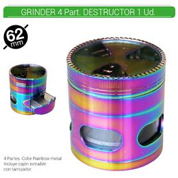 GRINDER 4 Part. ATOMIC DESTRUCTOR RAINBOW 62 mm. 1 Ud. 02.12511
