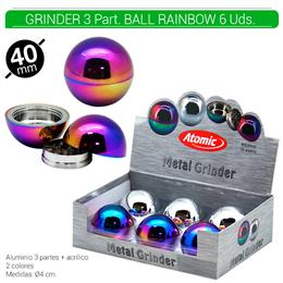 GRINDER 3 Part. ATOMIC ALU BALL RAINBOW 40 mm 6 Uds. 02.12489