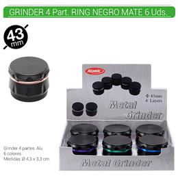 GRINDER 4 Part. ATOMIC RING NEGRO 43 mm. 6 Uds. 02.12519