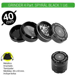 GRINDER 4 Part. SPYRAL BLACK 39 mm. 1 Ud. 16003a [BTGR4-1.5]