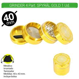 GRINDER 4 Part. SPYRAL GOLD 39 mm. 1 Ud. 16003e [BTGR4-1.5]