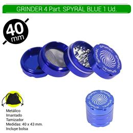 GRINDER 4 Part. SPYRAL BLUE 39 mm. 1 Ud.16003b [ BTGR4-1.5]