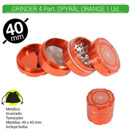 GRINDER 4 Part. SPYRAL ORANGE 39 mm. 1 Ud.16003h [ BTGR4-1.5]