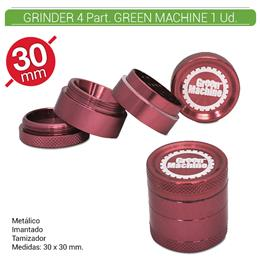 GRINDER 4 Part. GREEN MACHINE RED 30 mm. 1 Ud. 16081d [BGR4-30]