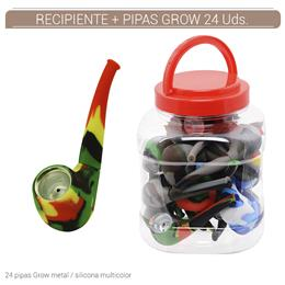 RECIPIENTE PIPAS GROW METAL/SILICONA MULTICOLOR 24 PCS. 1 Ud. 02.12762