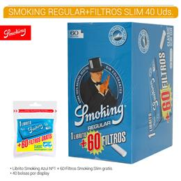 SMOKING FILTROS SLIM CLASSIC + REG.  BLUE 40 Uds.