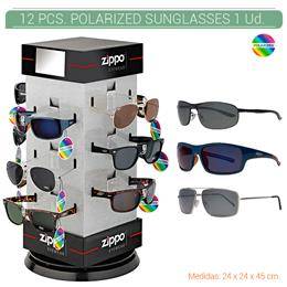 ZIPPO EXP. 12 PCS. POLARIZED SUNGLASSES PRE-PACK + DISPLAY 1 Ud. 2005474