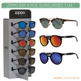 ZIPPO EXP. 8 PCS. SUNGLASSES DOUBLE BRIDGE PRE-PACK + DISPLAY 1 Ud. 2005477